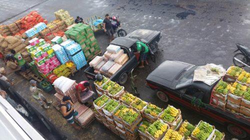 Caisses de bananes et pommes de terre prêtes à être chargées sur le bateau