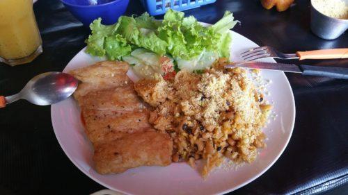 Plat de poisson Pirarucu avec riz et farofa