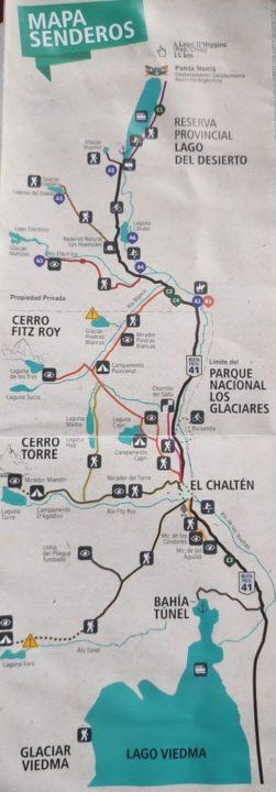 Carte itinéraire de randonnée el chalten