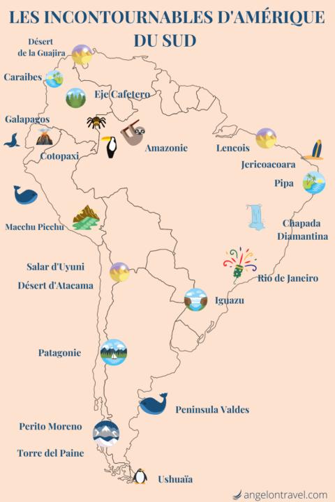 Carte itinéraire d'Amérique du Sud