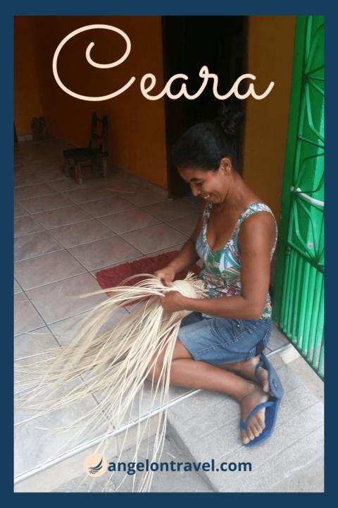 Femme tissant un chapeau dans le Ceara au Brésil