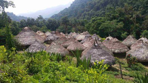 Toits des huttes indigène d'un village