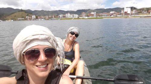 Moi et Laeticia faisant du Kayak sur le lac Penol
