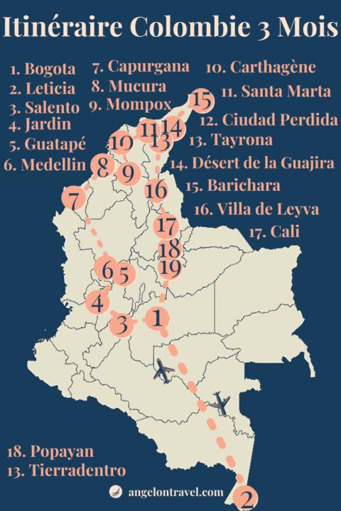 Carte d'Itinéraire de Road Trip en Colombie de 3 mois