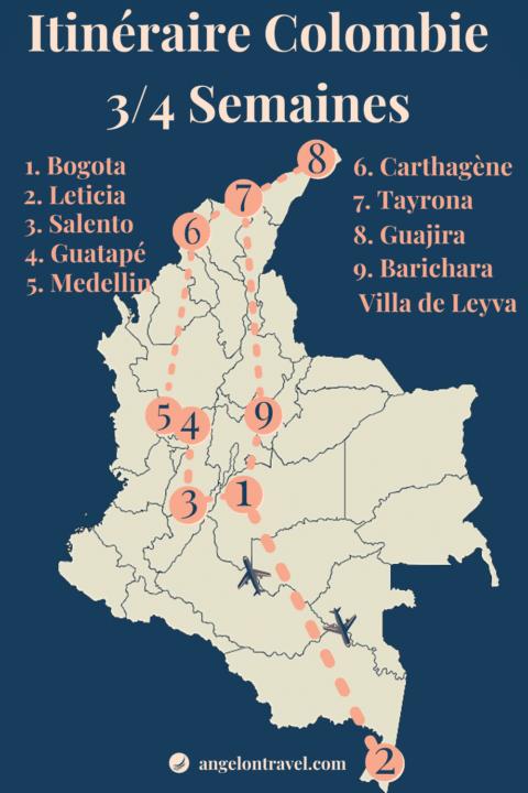 Carte d'itinéraire de Road Trip en COlombie de 3 semaines ou 1 mois