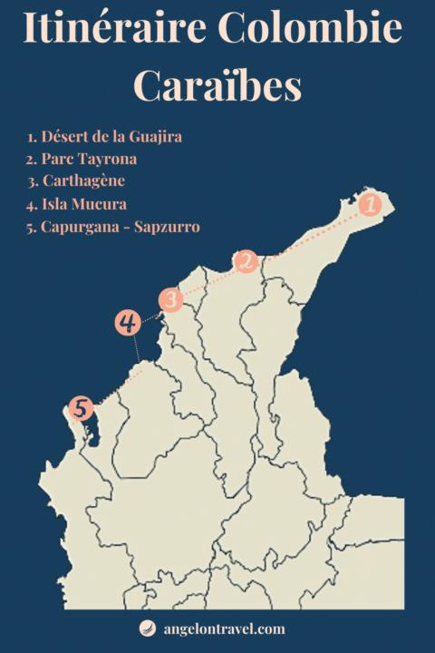 Carte Itinéraire de Road Trip en colombie de 2 semaines dans les caraïbes