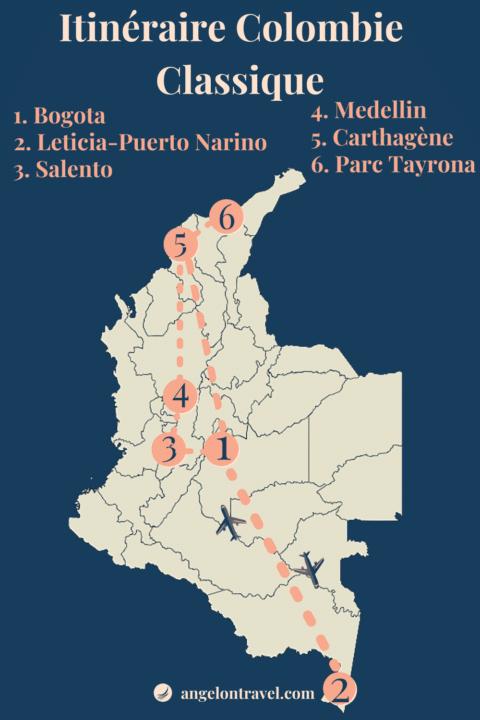 Carte Itinéraire deRoad Trip classique en colombie de 2 semaines