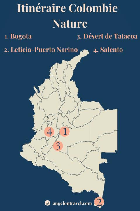 Carte Itinéraire de Road Trip nature en colombie de 2 semaines
