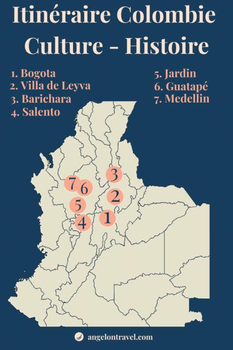 Carte Itinéraire de Road Trip Culture et Histoire en colombie de 2 semaines