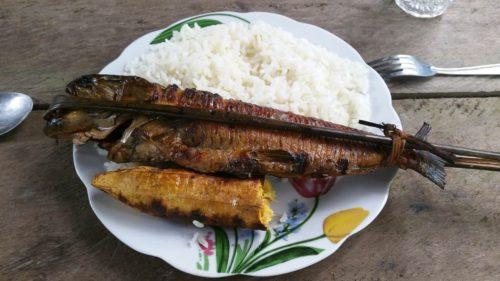 Poisson frit avec du riz et une banane plantain