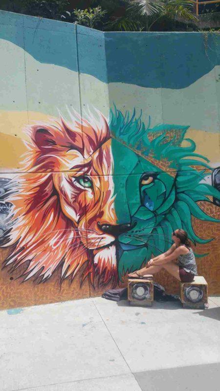 Dessin d'un lion au mur