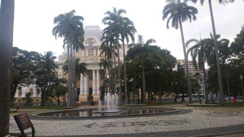 Place parsemée de palmiers