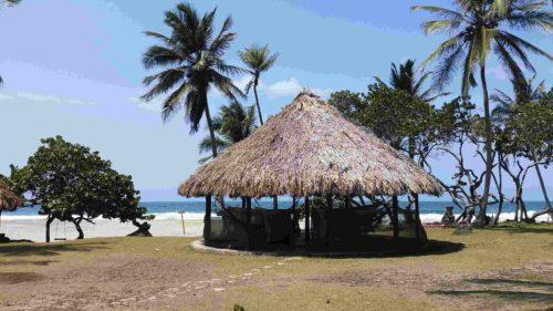 Hutte disposant de hamacs au bord de la plage