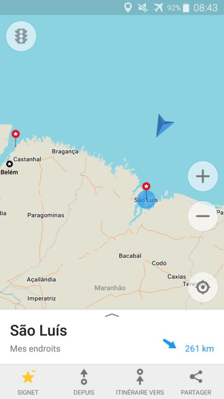 Carte arrivée Sao Luis